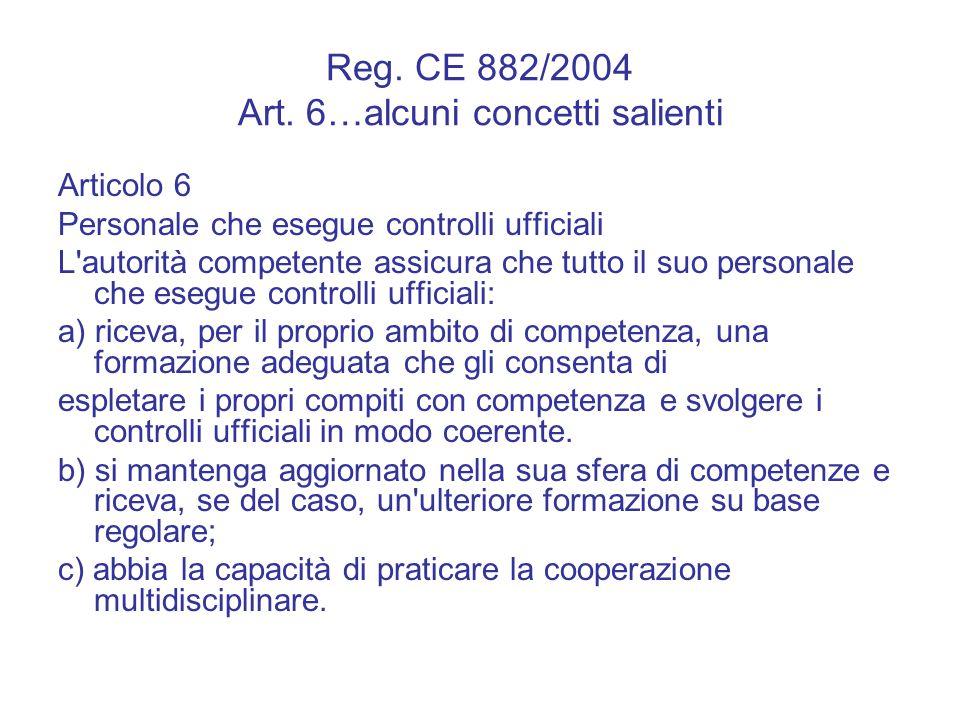 Reg. CE 882/2004 Art. 6…alcuni concetti salienti