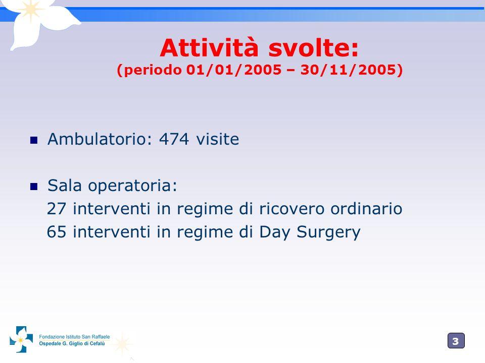 Attività svolte: (periodo 01/01/2005 – 30/11/2005)