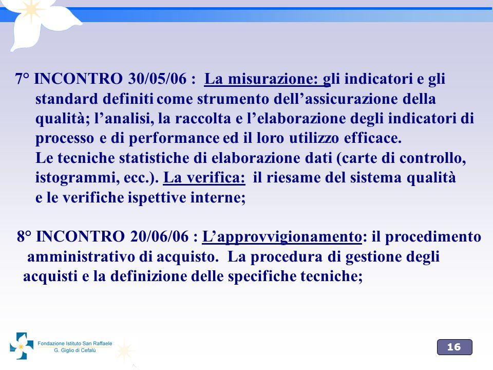 7° INCONTRO 30/05/06 : La misurazione: gli indicatori e gli