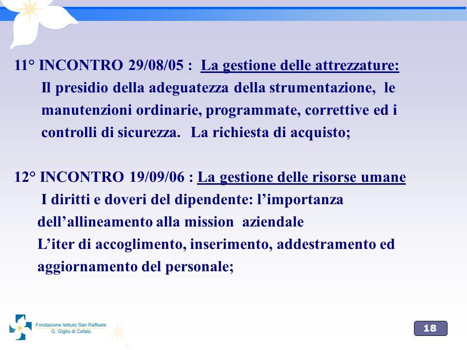 11° INCONTRO 29/08/05 : La gestione delle attrezzature: