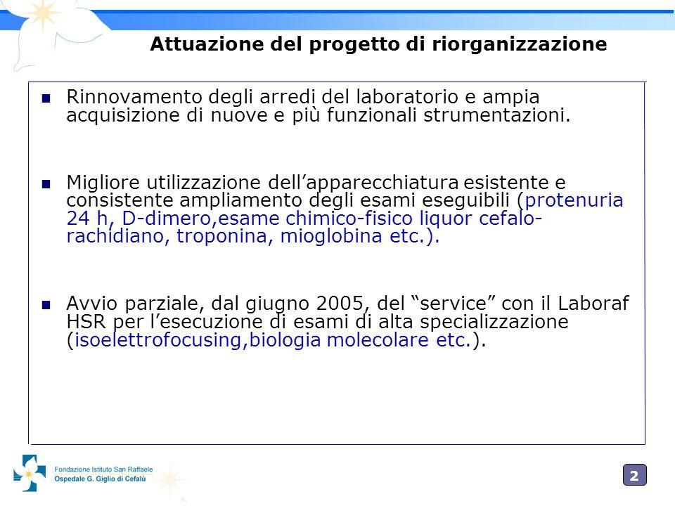 Attuazione del progetto di riorganizzazione