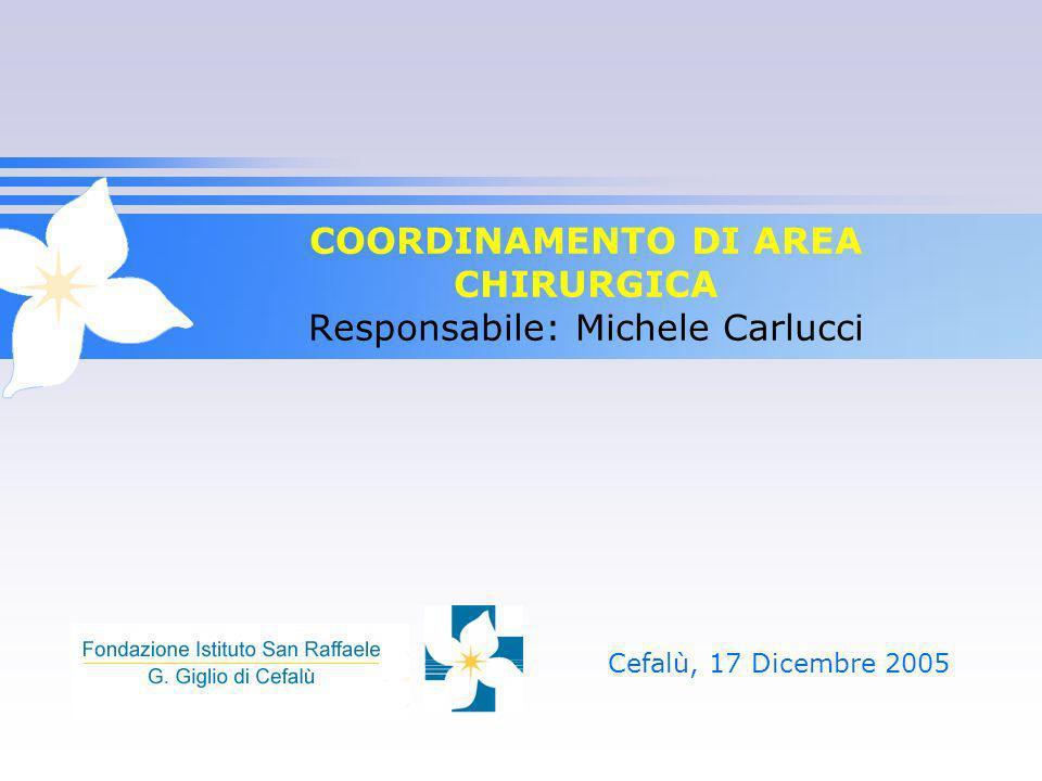COORDINAMENTO DI AREA CHIRURGICA Responsabile: Michele Carlucci