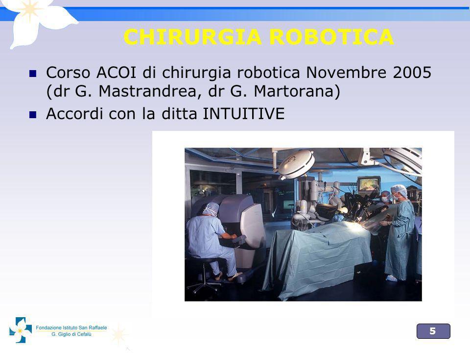 CHIRURGIA ROBOTICA Corso ACOI di chirurgia robotica Novembre 2005 (dr G. Mastrandrea, dr G. Martorana)
