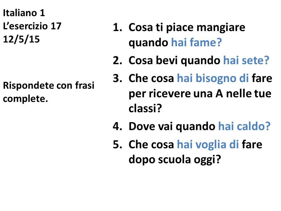 Italiano 1 L'esercizio 17 12/5/15