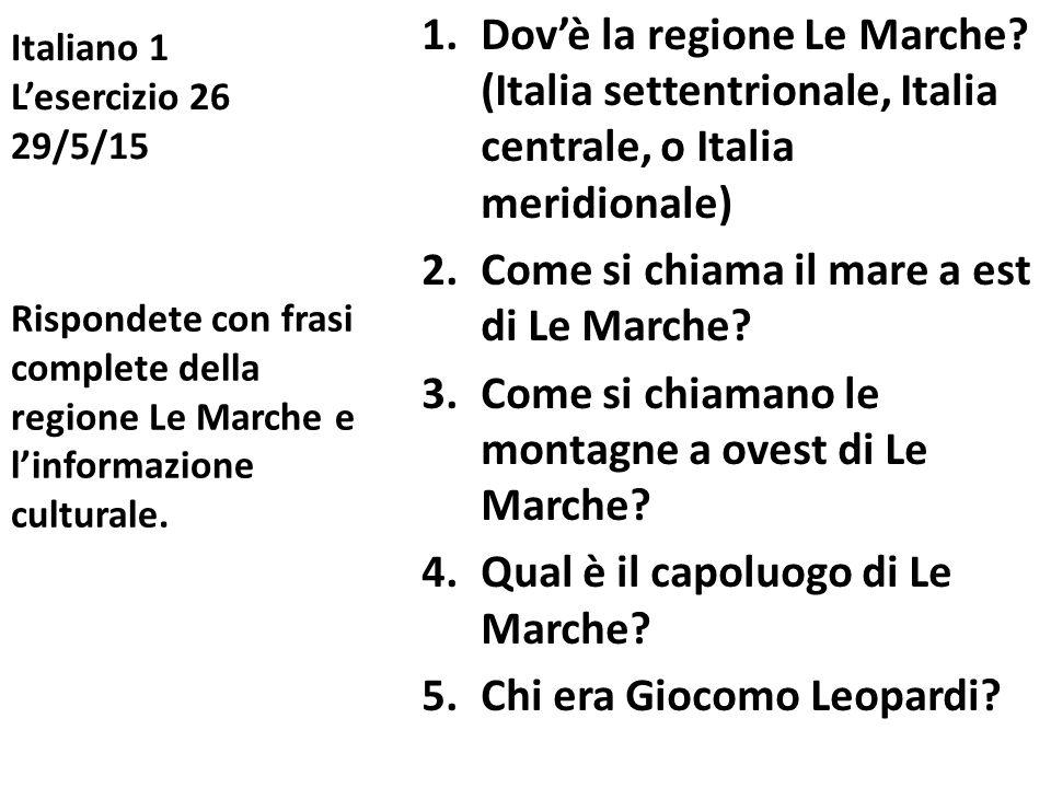 Italiano 1 L'esercizio 26 29/5/15