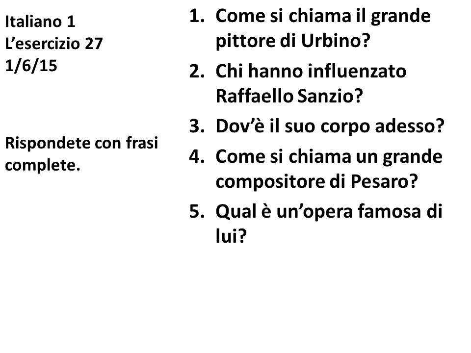 Italiano 1 L'esercizio 27 1/6/15