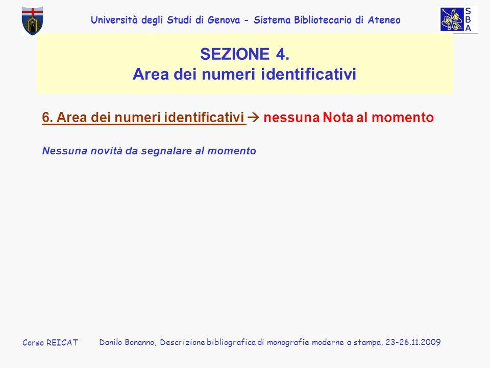 SEZIONE 4. Area dei numeri identificativi