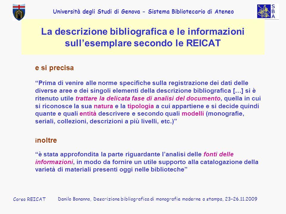 La descrizione bibliografica e le informazioni sull'esemplare secondo le REICAT
