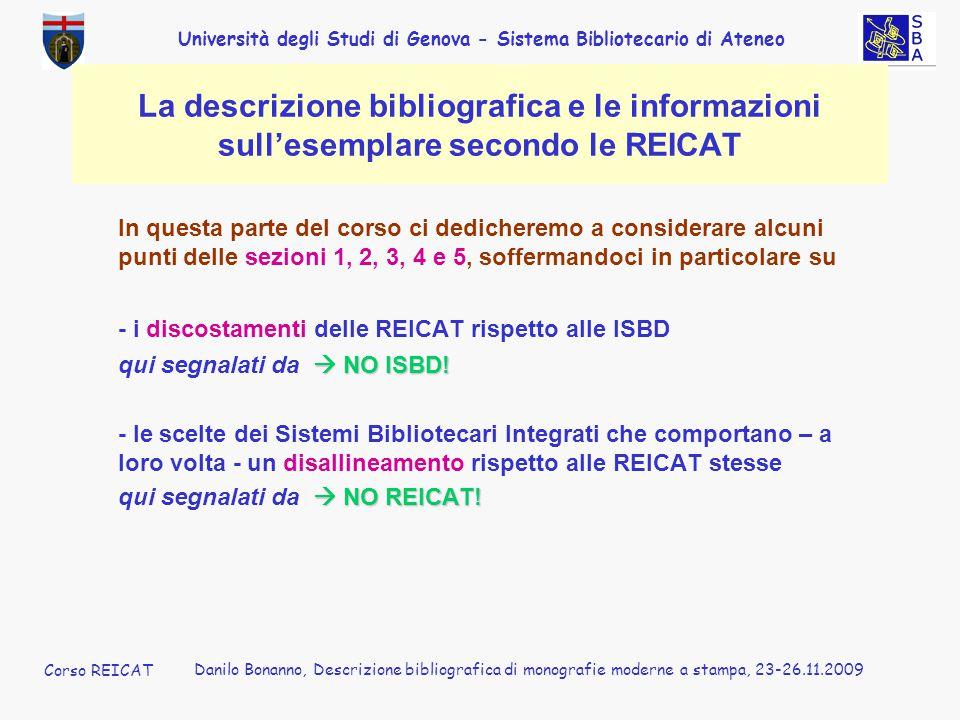 Corso REICAT Danilo Bonanno. La descrizione bibliografica e le informazioni sull'esemplare secondo le REICAT.