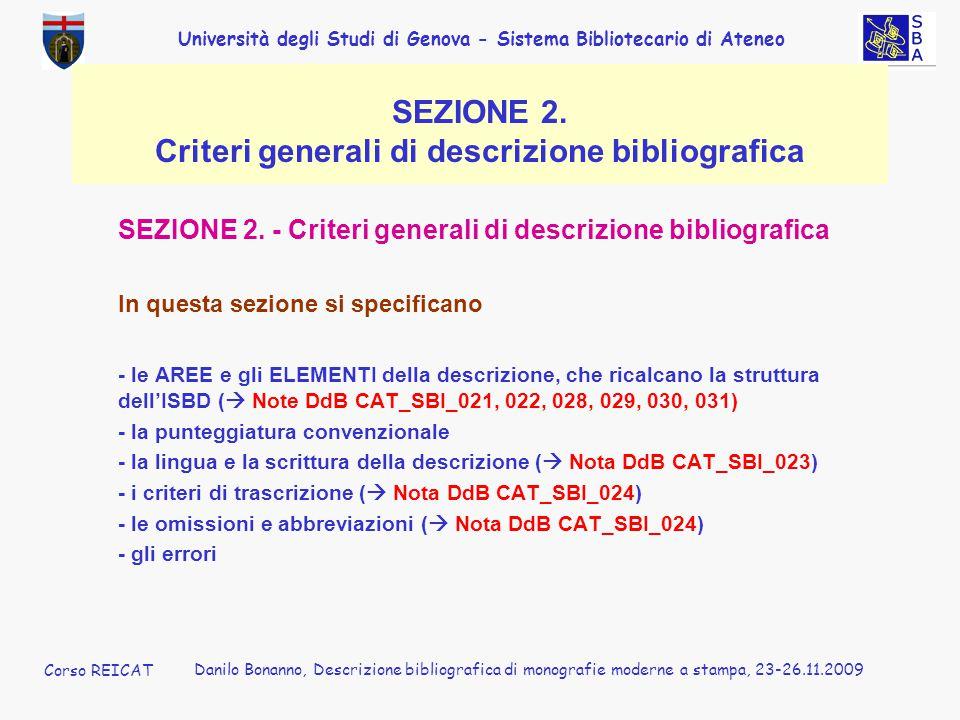 SEZIONE 2. Criteri generali di descrizione bibliografica