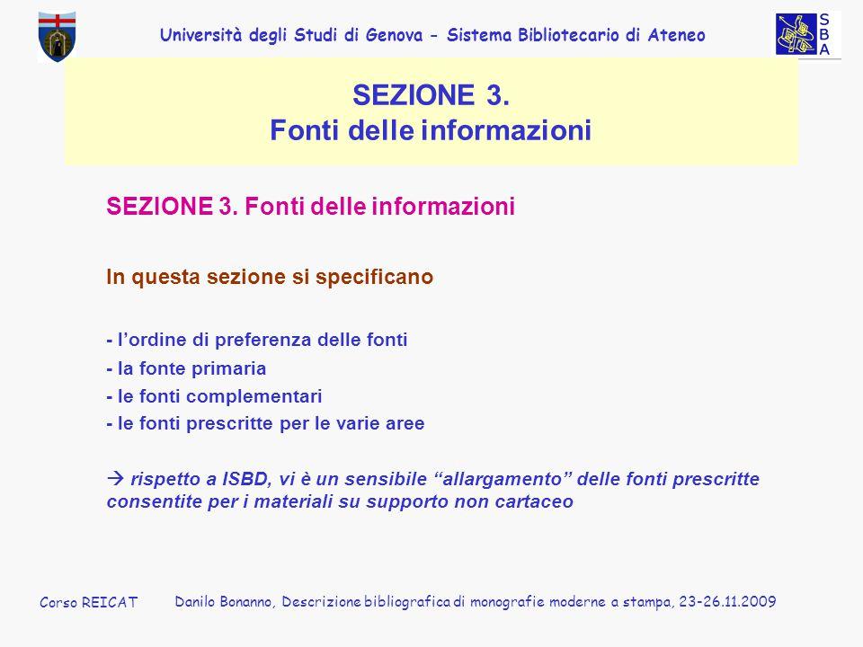 SEZIONE 3. Fonti delle informazioni