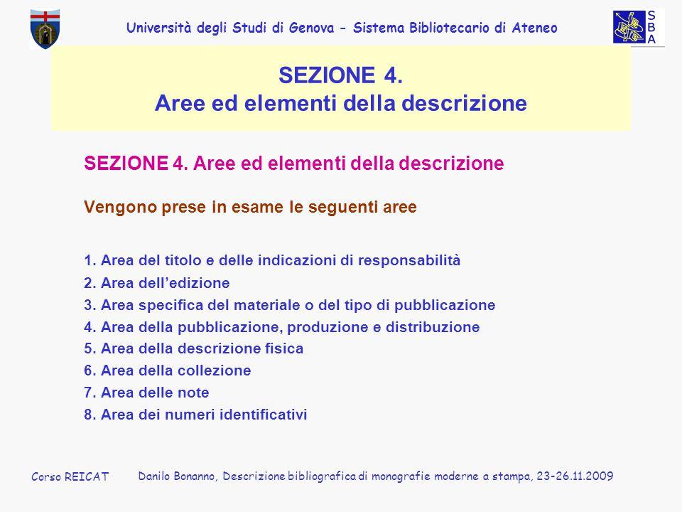 SEZIONE 4. Aree ed elementi della descrizione