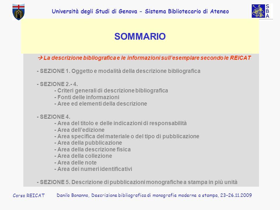 Corso REICAT Danilo Bonanno. SOMMARIO.  La descrizione bibliografica e le informazioni sull'esemplare secondo le REICAT.