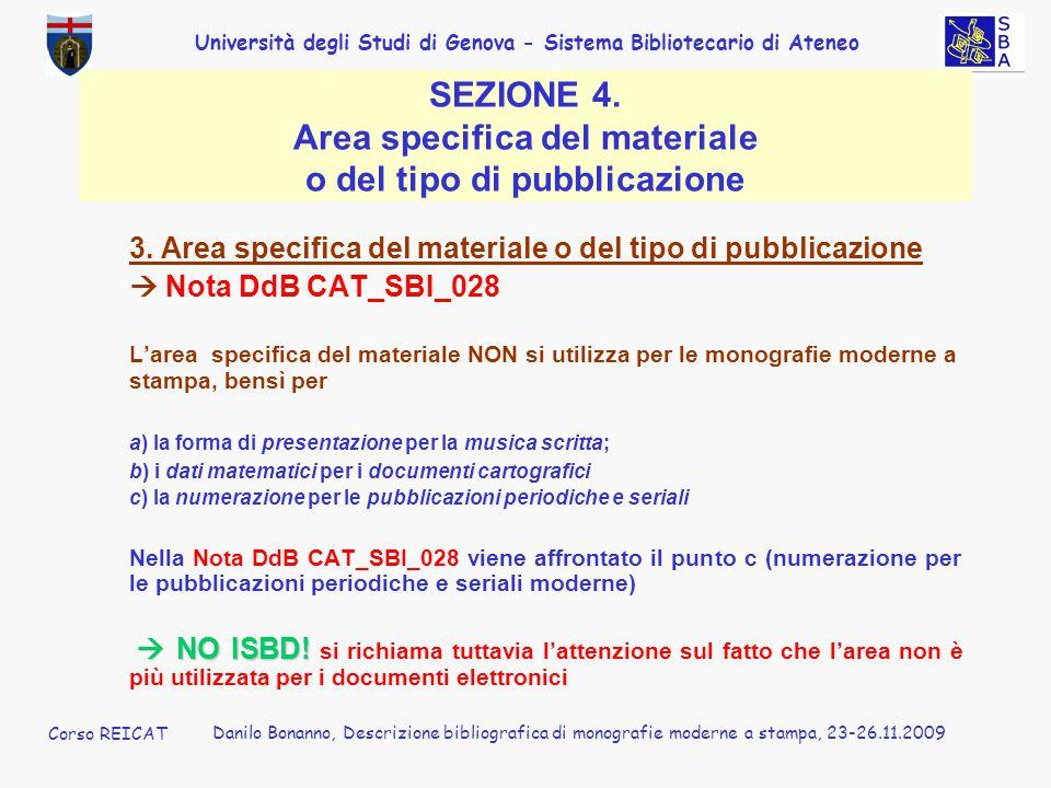 SEZIONE 4. Area specifica del materiale o del tipo di pubblicazione