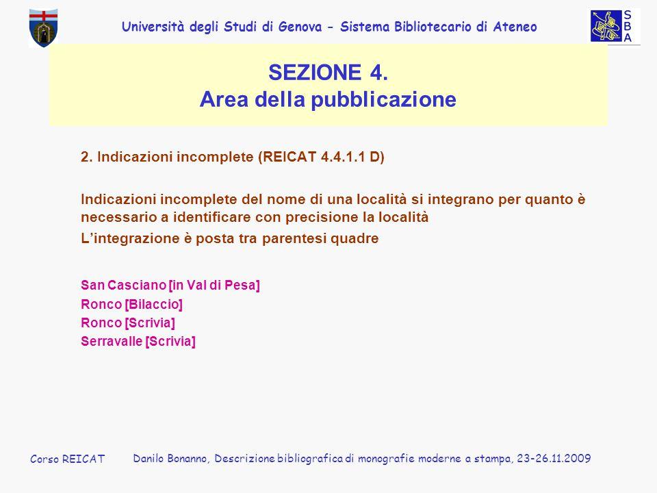 SEZIONE 4. Area della pubblicazione
