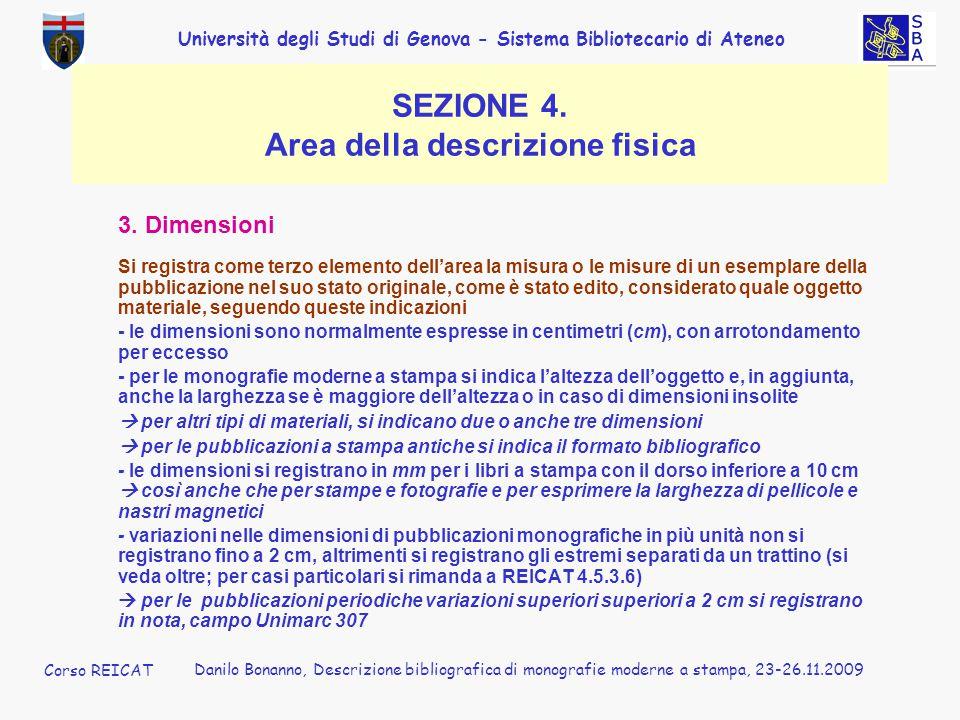 SEZIONE 4. Area della descrizione fisica