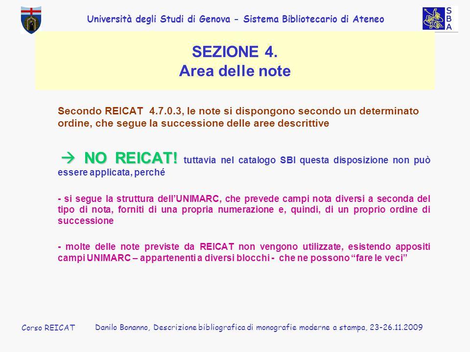 SEZIONE 4. Area delle note