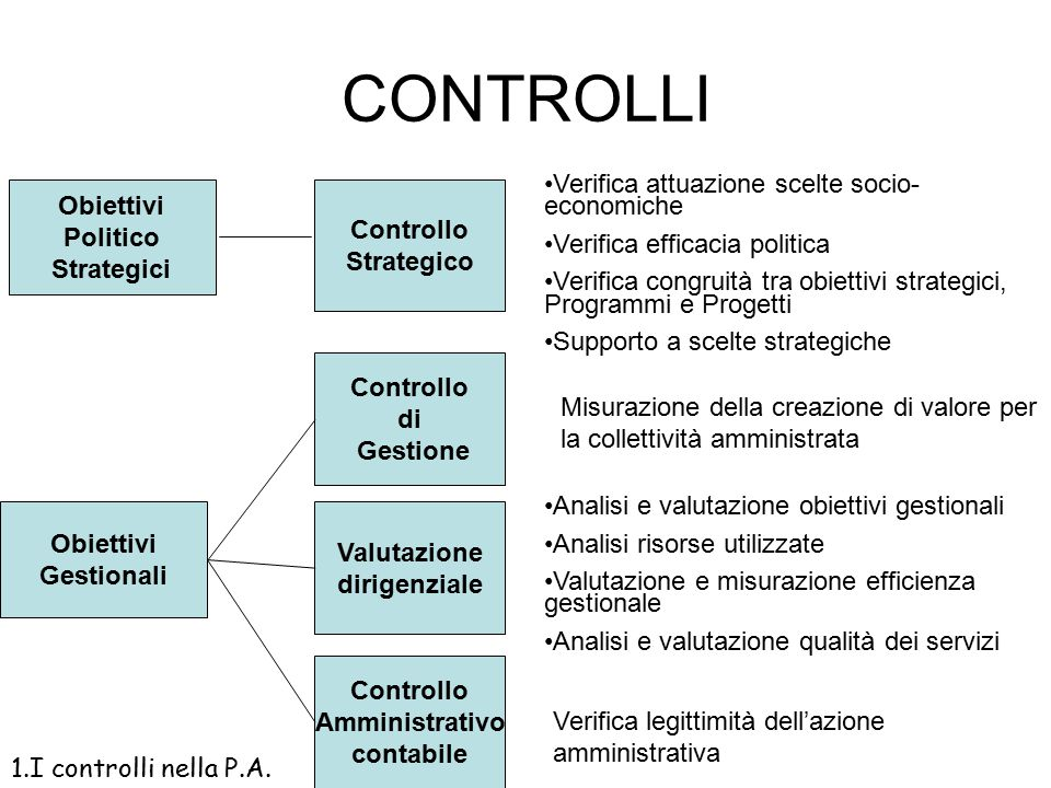 CONTROLLI Verifica attuazione scelte socio-economiche Obiettivi