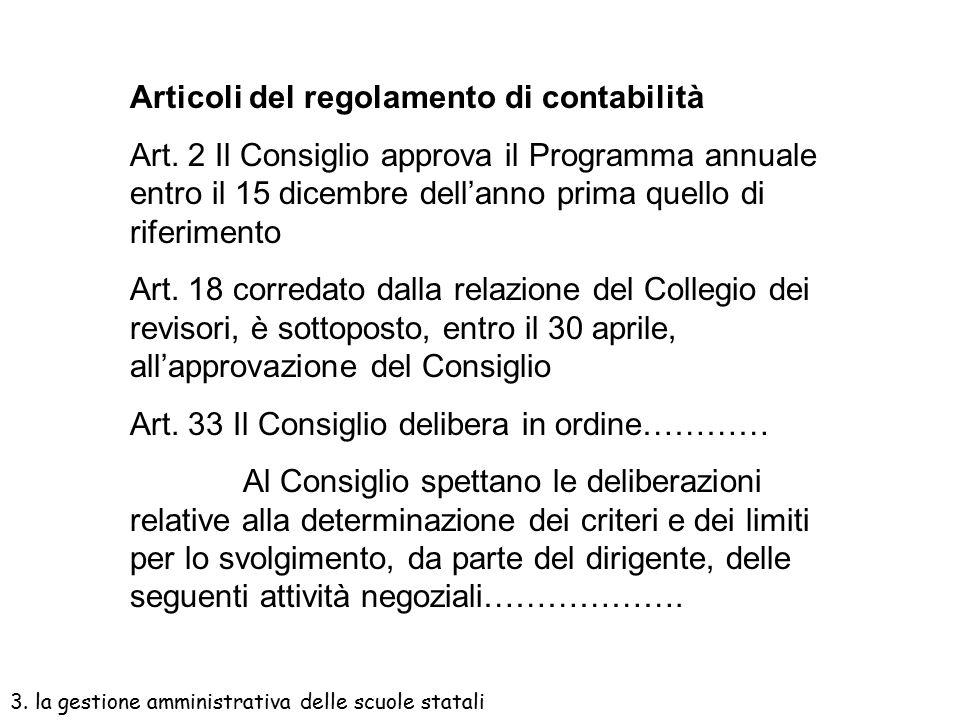 Articoli del regolamento di contabilità