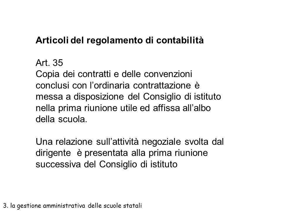 Articoli del regolamento di contabilità Art. 35