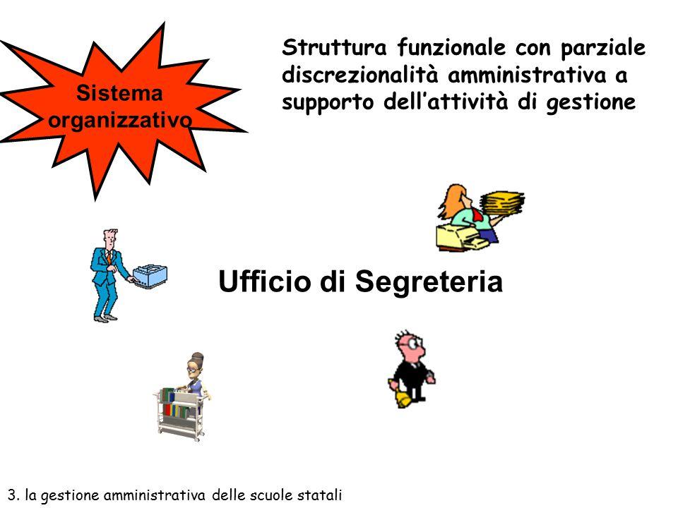 Sistema organizzativo. Struttura funzionale con parziale discrezionalità amministrativa a supporto dell'attività di gestione.