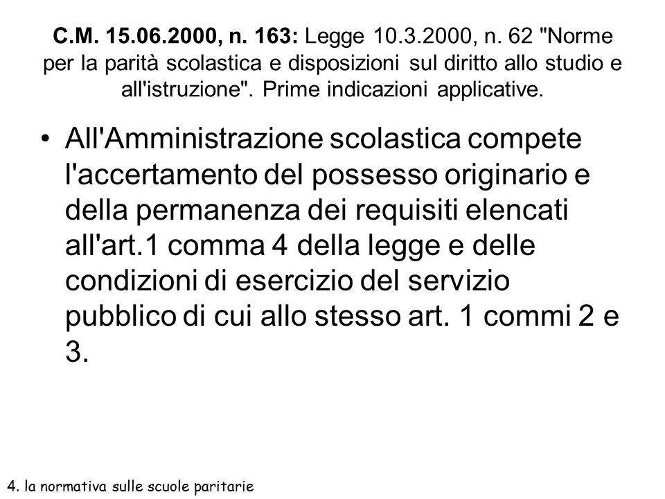 C.M. 15.06.2000, n. 163: Legge 10.3.2000, n. 62 Norme per la parità scolastica e disposizioni sul diritto allo studio e all istruzione . Prime indicazioni applicative.
