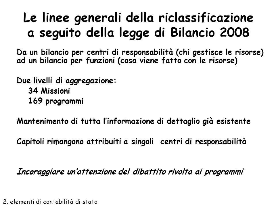 Le linee generali della riclassificazione a seguito della legge di Bilancio 2008