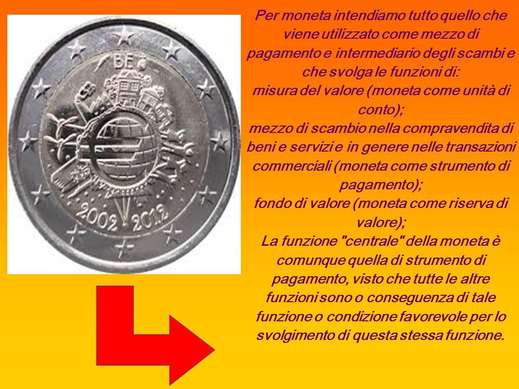 misura del valore (moneta come unità di conto);