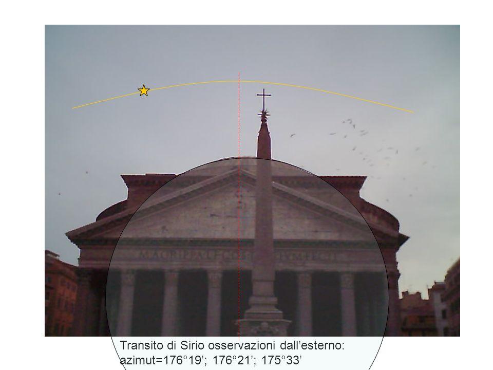 Transito di Sirio osservazioni dall'esterno: azimut=176°19'; 176°21'; 175°33'