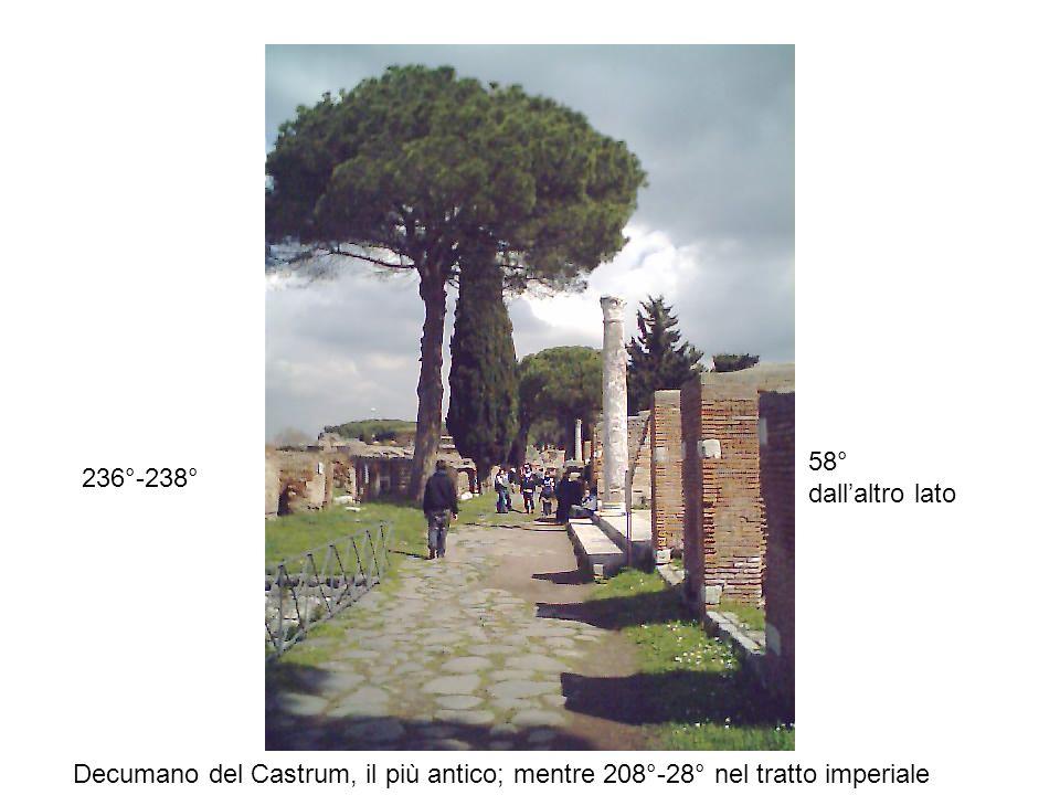 58° dall'altro lato 236°-238° Decumano del Castrum, il più antico; mentre 208°-28° nel tratto imperiale.