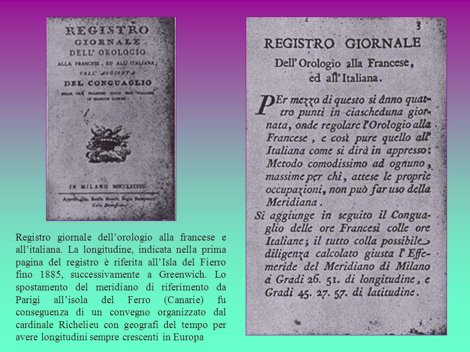 Registro giornale dell'orologio alla francese e all'italiana