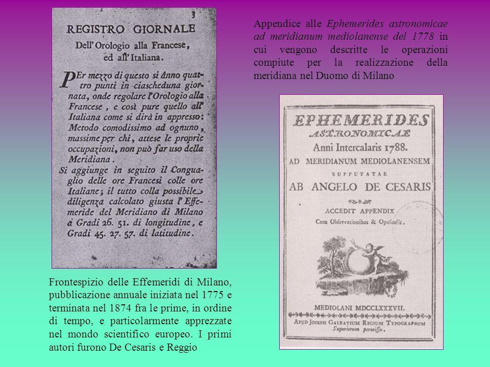 Appendice alle Ephemerides astronomicae ad meridianum mediolanense del 1778 in cui vengono descritte le operazioni compiute per la realizzazione della meridiana nel Duomo di Milano