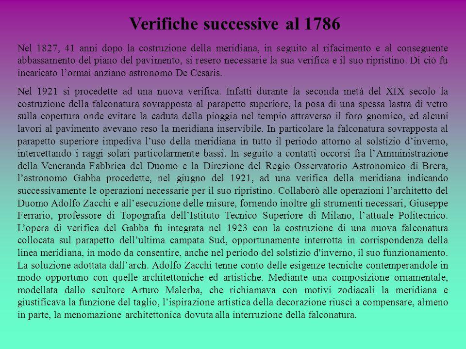 Verifiche successive al 1786