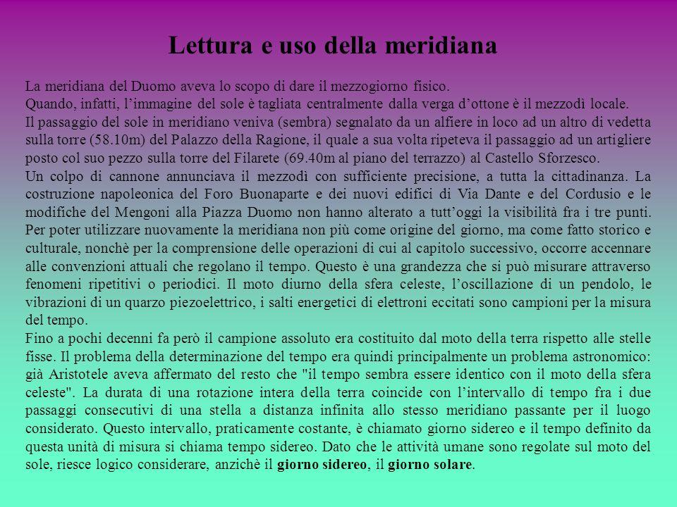 Lettura e uso della meridiana