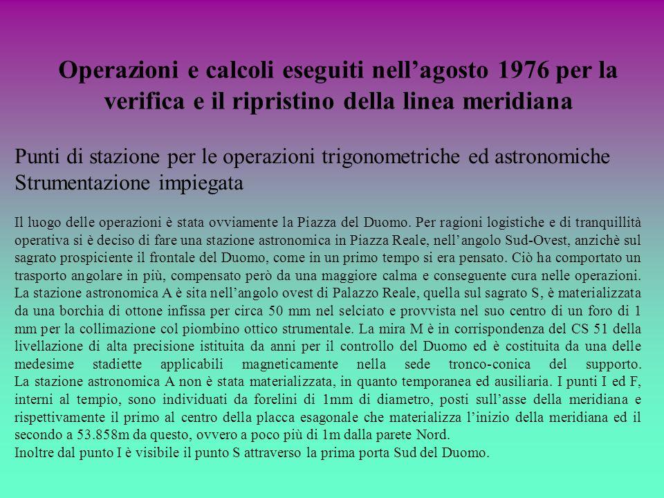Operazioni e calcoli eseguiti nell'agosto 1976 per la verifica e il ripristino della linea meridiana
