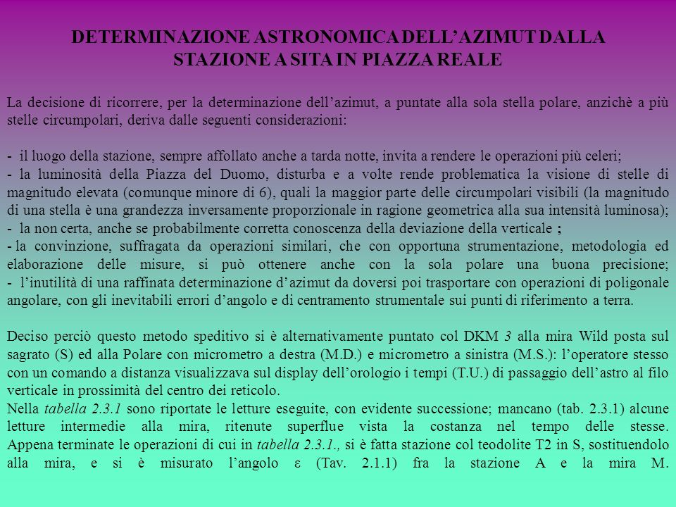 DETERMINAZIONE ASTRONOMICA DELL'AZIMUT DALLA