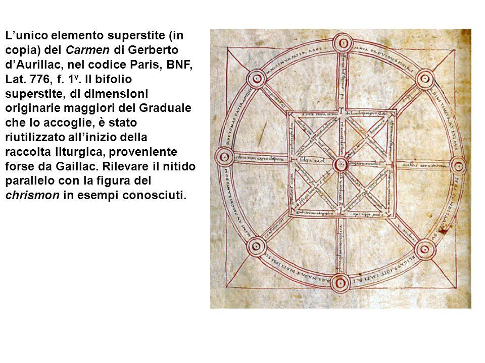 L'unico elemento superstite (in copia) del Carmen di Gerberto d'Aurillac, nel codice Paris, BNF, Lat.