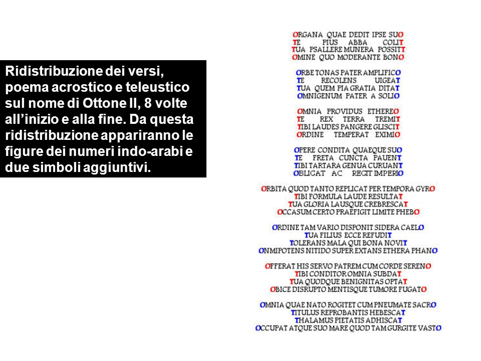 Ridistribuzione dei versi, poema acrostico e teleustico sul nome di Ottone II, 8 volte all'inizio e alla fine.