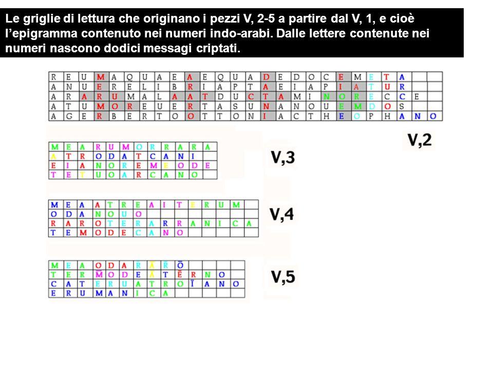 Le griglie di lettura che originano i pezzi V, 2-5 a partire dal V, 1, e cioè l'epigramma contenuto nei numeri indo-arabi.