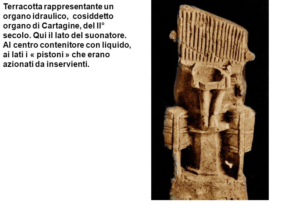 Terracotta rappresentante un organo idraulico, cosiddetto organo di Cartagine, del II° secolo.