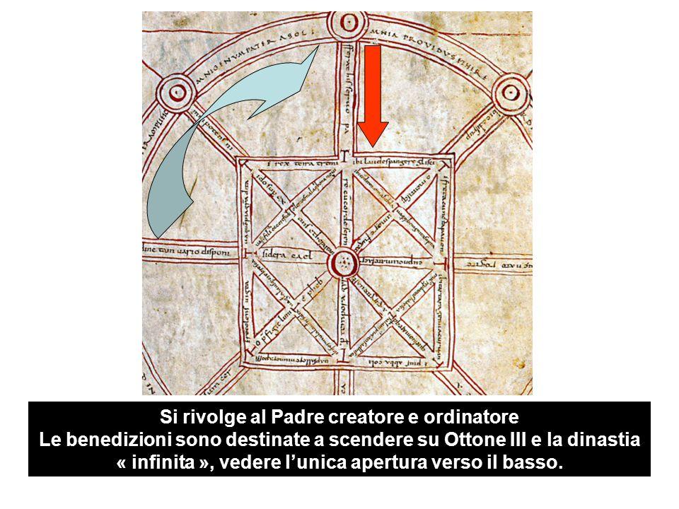 Si rivolge al Padre creatore e ordinatore Le benedizioni sono destinate a scendere su Ottone III e la dinastia « infinita », vedere l'unica apertura verso il basso.