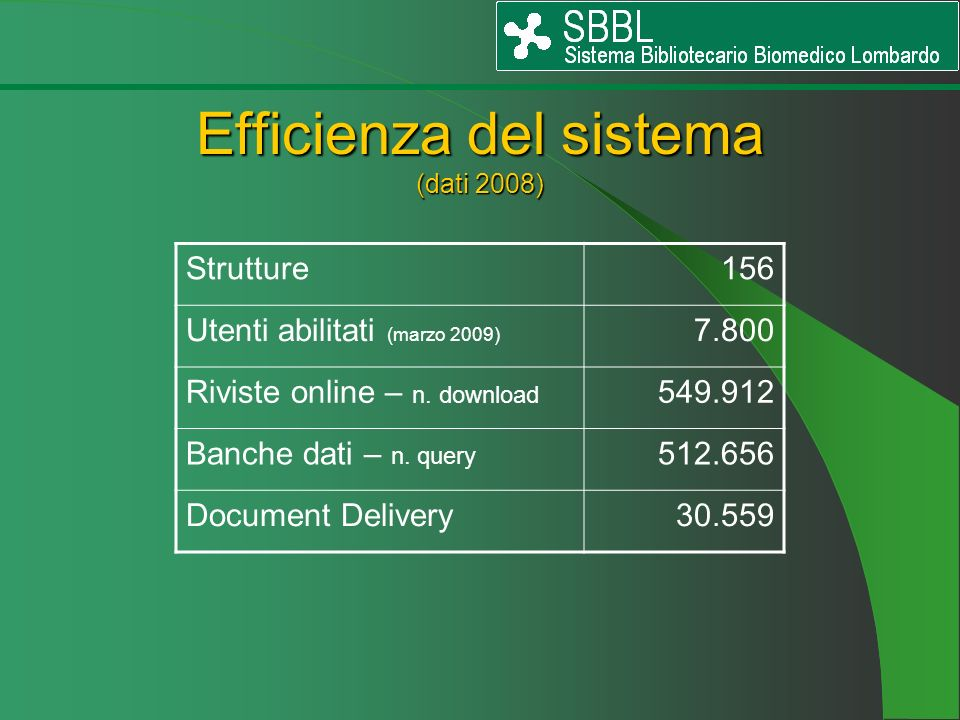 Efficienza del sistema (dati 2008)
