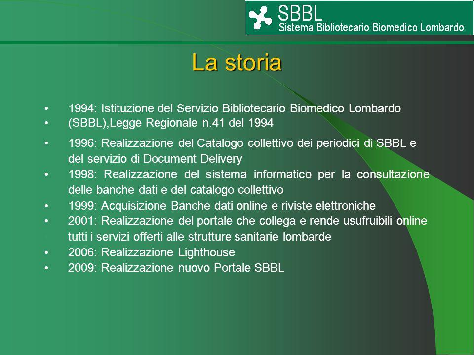 La storia 1994: Istituzione del Servizio Bibliotecario Biomedico Lombardo. (SBBL),Legge Regionale n.41 del 1994.