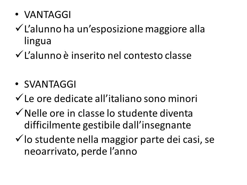 VANTAGGI L'alunno ha un'esposizione maggiore alla lingua. L'alunno è inserito nel contesto classe.