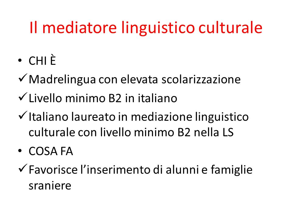 Il mediatore linguistico culturale