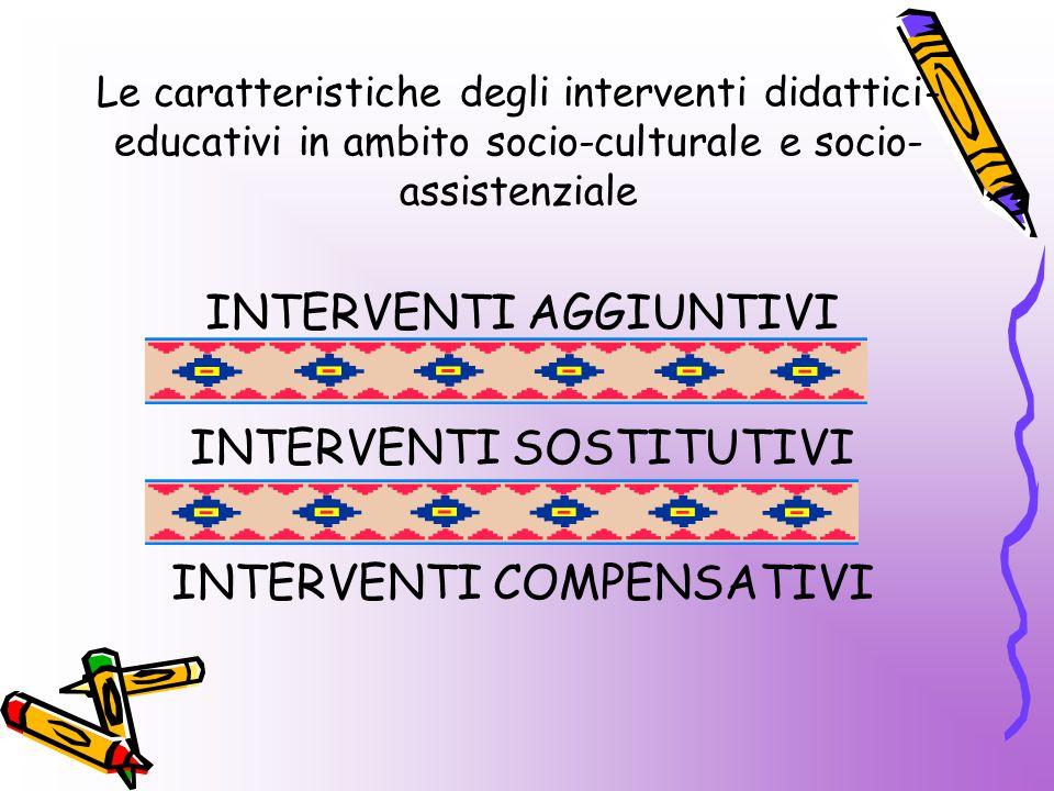 INTERVENTI AGGIUNTIVI INTERVENTI SOSTITUTIVI INTERVENTI COMPENSATIVI