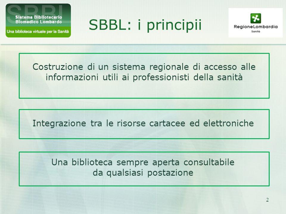 SBBL: i principii Costruzione di un sistema regionale di accesso alle informazioni utili ai professionisti della sanità.