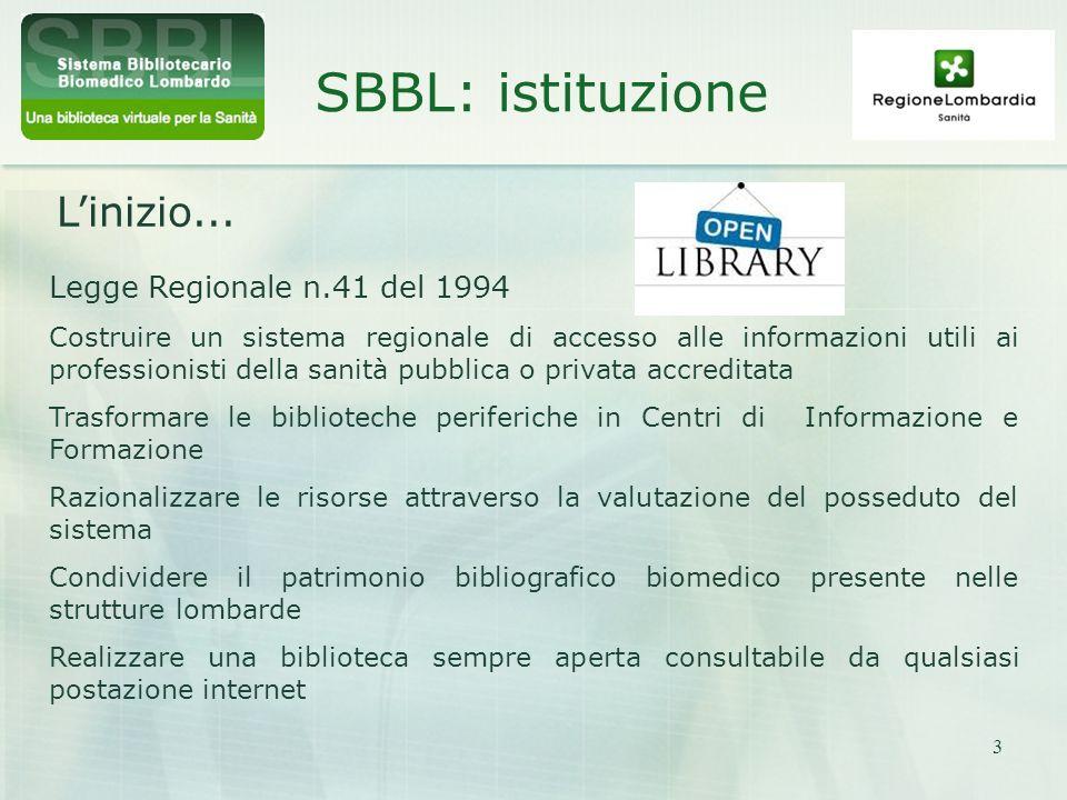 SBBL: istituzione L'inizio... Legge Regionale n.41 del 1994