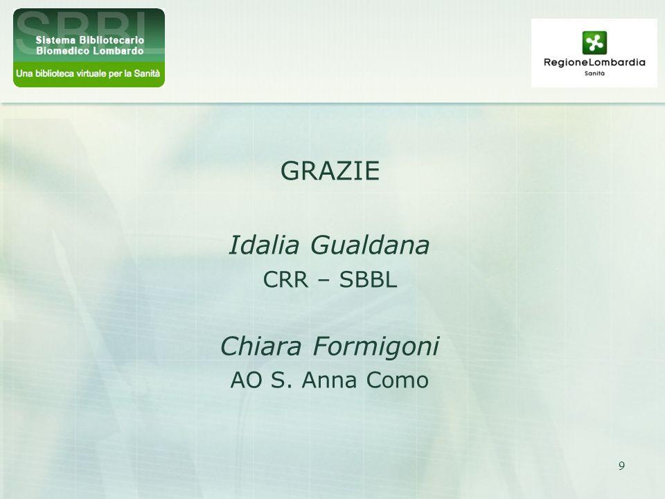 GRAZIE Idalia Gualdana CRR – SBBL Chiara Formigoni AO S. Anna Como
