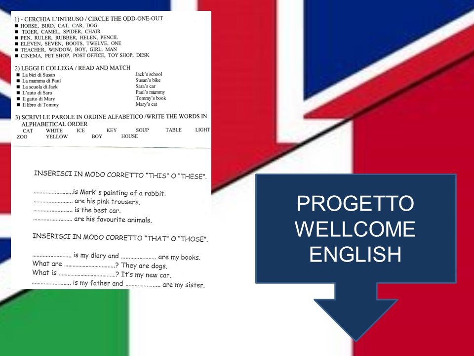 PROGETTO WELLCOME ENGLISH